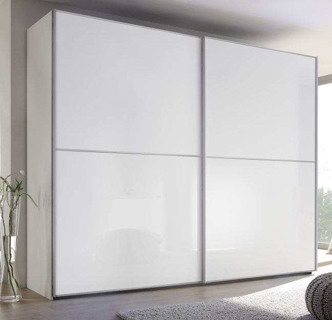 Nolte Attraction Version 3A Polar White with White Glass 2 Door Sliding Wardrobe - W 220cm