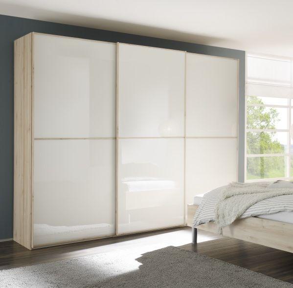 Nolte Attraction Version 3B Imitation Sonoma Oak with White Glass 3 Door Sliding Wardrobe - W 270cm