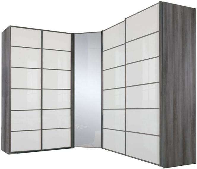 Nolte Attraction Version 4 Imitation Silver Oak with White Glass L Shaped 5 Door Sliding Wardrobe with Left Hand Facing Corner Hinged Door - W 410cm