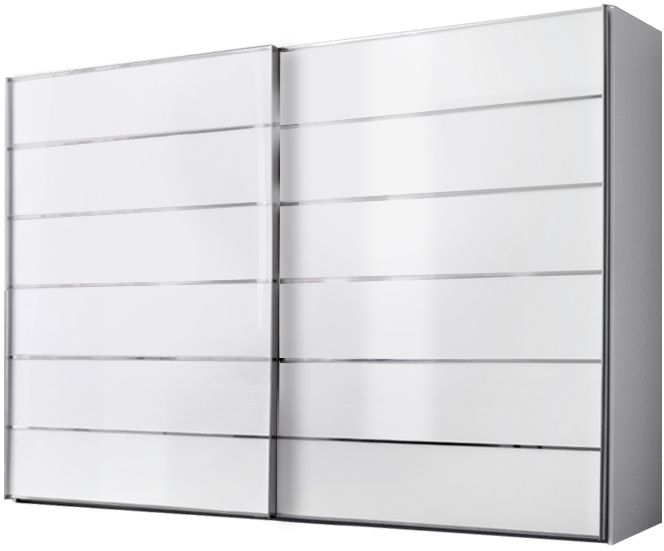 Nolte Attraction Version 4 Polar White with White Glass 2 Door Sliding Wardrobe - W 180cm