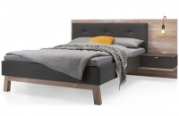 Nolte Cepina Basalt with Picea Pine and Fabric Amaro Anthracite Bed Frame 2 - W 140cm