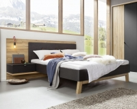 Nolte Cepina Basalt with Planked Oak and Fabric Amaro Anthracite Bed Frame 2 - W 140cm