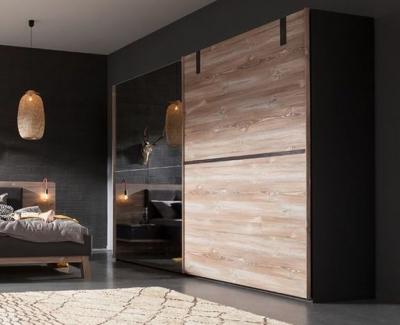 Nolte Cepina Basalt with Picea Pine and Grey Mirror 2 Door Sliding Wardrobe - W 320cm