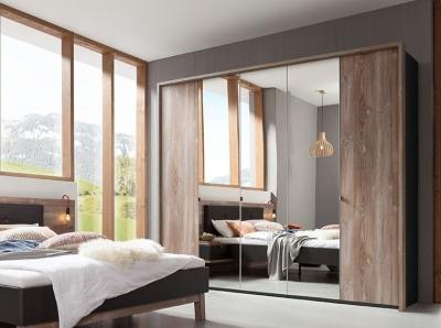 Nolte Cepina Basalt with Picea Pine and Grey Mirror 6 Door Hinged Wardrobe - W 300cm