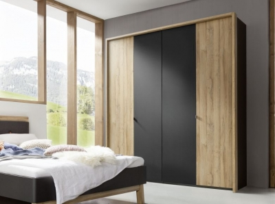 Nolte Cepina Basalt with Planked Oak 5 Door Hinged Wardrobe - W 250cm