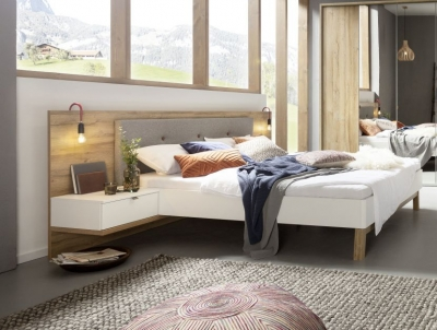 Nolte Cepina Polar White with Planked Oak and Fabric Grey Melange Bed Frame 1 - W 140cm