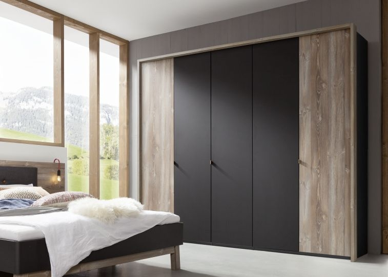 Nolte Cepina Basalt with Picea Pine 4 Door Hinged Wardrobe - W 200cm