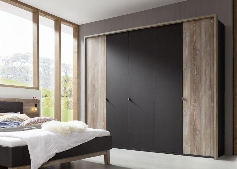 Nolte Cepina Basalt with Picea Pine 6 Door Hinged Wardrobe - W 300cm