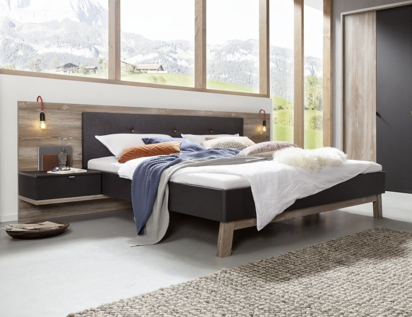 Nolte Cepina Basalt with Picea Pine and Fabric Amaro Anthracite Bed Frame 1 - W 150cm