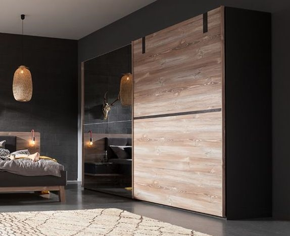Nolte Cepina Basalt with Picea Pine and Grey Mirror 2 Door Sliding Wardrobe - W 200cm
