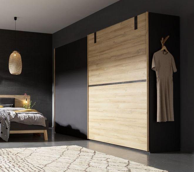 Nolte Cepina Basalt with Planked Oak 2 Door Sliding Wardrobe - W 320cm