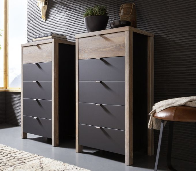 Nolte Cepina Basalt with Planked Oak 5 Drawer Chest - W 57cm