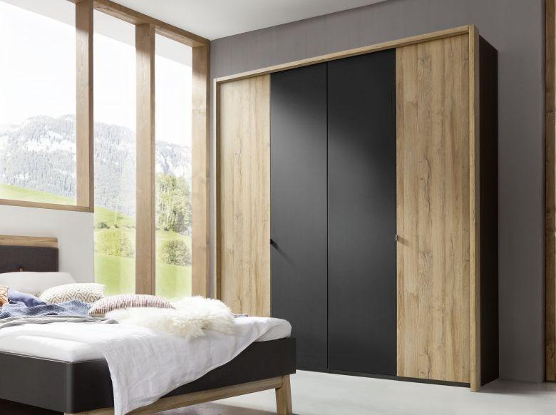 Nolte Cepina Basalt with Planked Oak 6 Door Hinged Wardrobe - W 300cm