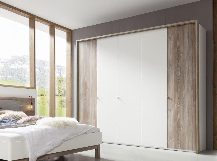 Nolte Cepina Polar White with Picea Pine 4 Door Hinged Wardrobe - W 200cm