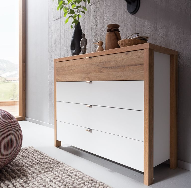 Nolte Cepina Polar White with Picea Pine 5 Drawer Chest - W 107cm