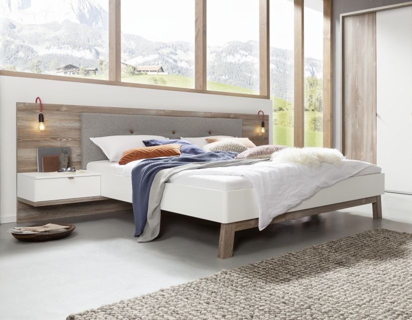 Nolte Cepina Polar White with Picea Pine and Fabric Grey Melange Bed Frame 1 - W 150cm