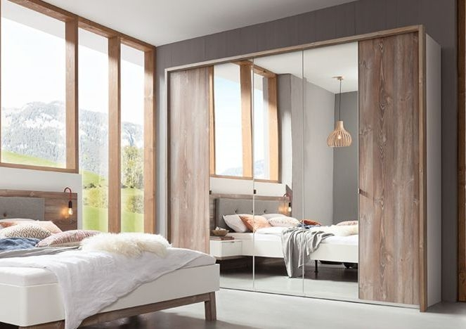Nolte Cepina Polar White with Picea Pine and Grey Mirror 4 Door Hinged Wardrobe - W 200cm