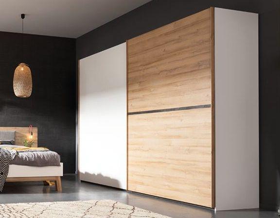 Nolte Cepina Polar White with Planked Oak 2 Door Sliding Wardrobe - W 200cm
