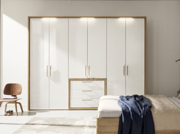 Nolte Columbus Imitation Icona Beech with Polar White 6 Door 3 Drawer Hinged Wardrobe - W 240cm