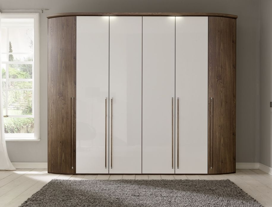 Nolte Columbus Imitation Macadamia Nutwood with White High Gloss 6 Door Hinged Wardrobe with Rounded Element - W 252cm
