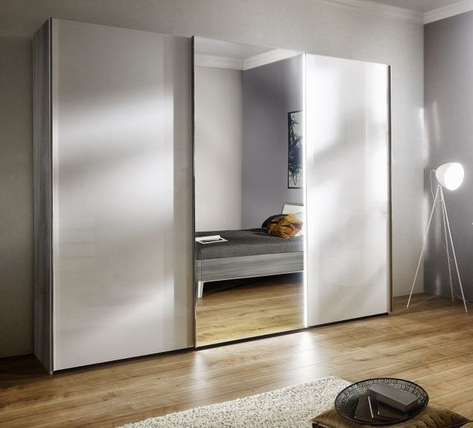 Nolte Columbus Imitation Silver Oak with Polar White and Crystal Mirror 3 Door Sliding Wardrobe - W 240cm