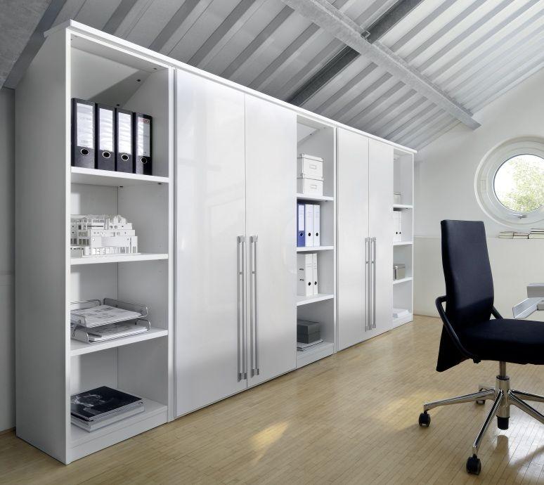 Nolte Columbus Polar White with White High Gloss 4 Door Hinged Wardrobe with Shelf Unit - W 280cm