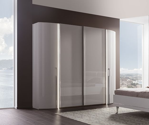Nolte Columbus White High Gloss 4 Door Hinged and Sliding Wardrobe - W 256cm