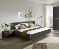 Nolte Deseo Graphite with Imitation Macadamia Nutwood Bed Frame 1A - W 140cm