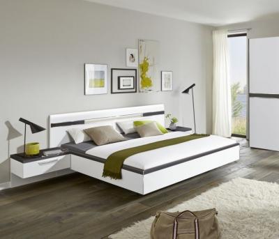 Nolte Deseo Polar White with Graphite Bed Frame 2A - W 140cm