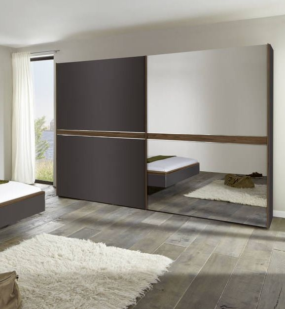 Nolte Deseo Graphite with Imitation Macadamia Nutwood Stripe and Grey Mirror 2 Door Sliding Wardrobe - W 280cm
