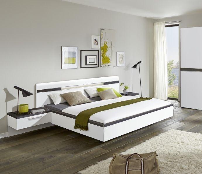 Nolte Deseo Polar White with Graphite Bed Frame 1A - W 140cm