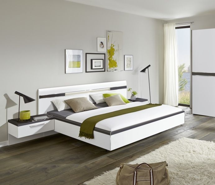 Nolte Deseo Polar White with Graphite Bed Frame 1A - W 150cm