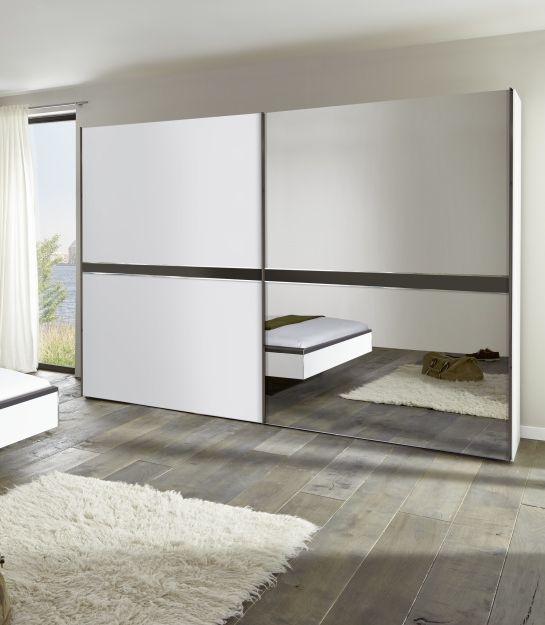 Nolte Deseo Polar White with Graphite Stripe and Grey Mirror 2 Door Sliding Wardrobe - W 200cm