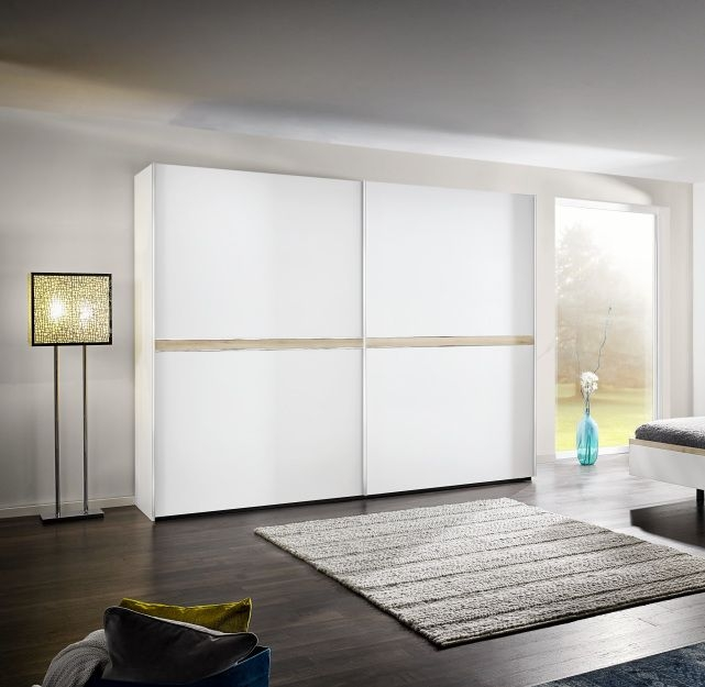 Nolte Deseo Polar White with Imitation Icona Beech Stripe 2 Door Sliding Wardrobe - W 200cm