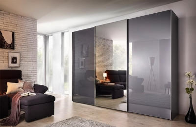 Nolte Evena Glass and Grey Mirror Doors Sliding Wardrobe