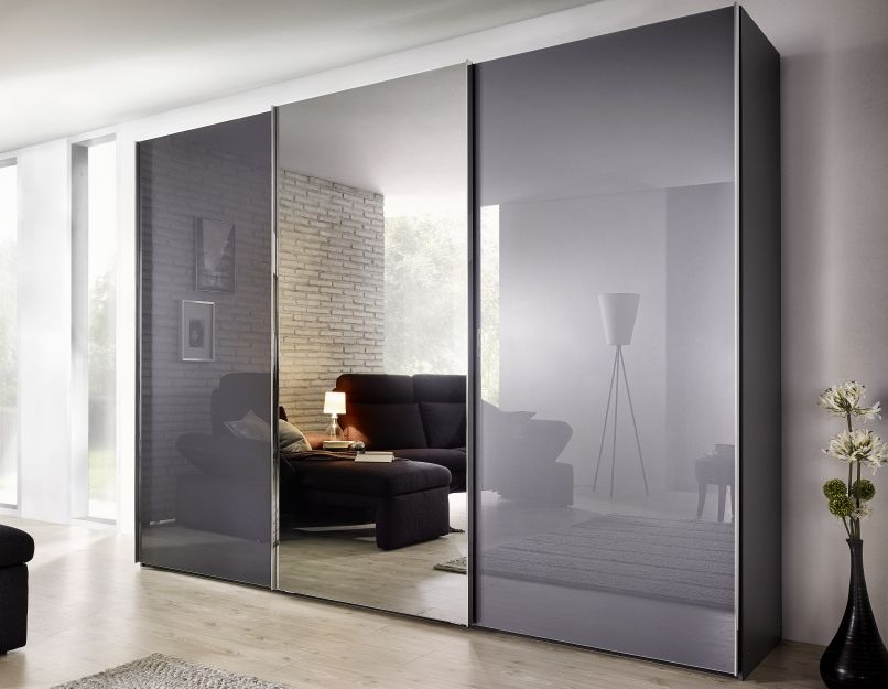 Nolte Evena Brown Velvet Glass and Crystal Mirror 3 Door Sliding Wardrobe - W 240cm