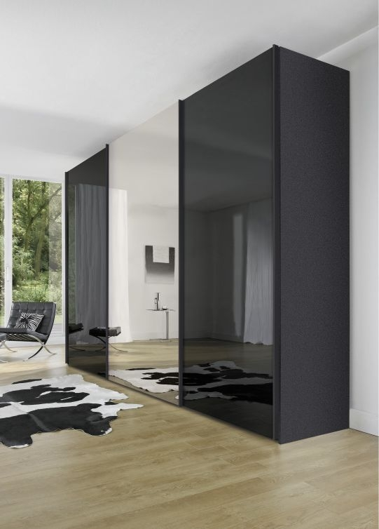 Nolte Evena Graphite Glass and Crystal Mirror 3 Door Sliding Wardrobe - W 240cm