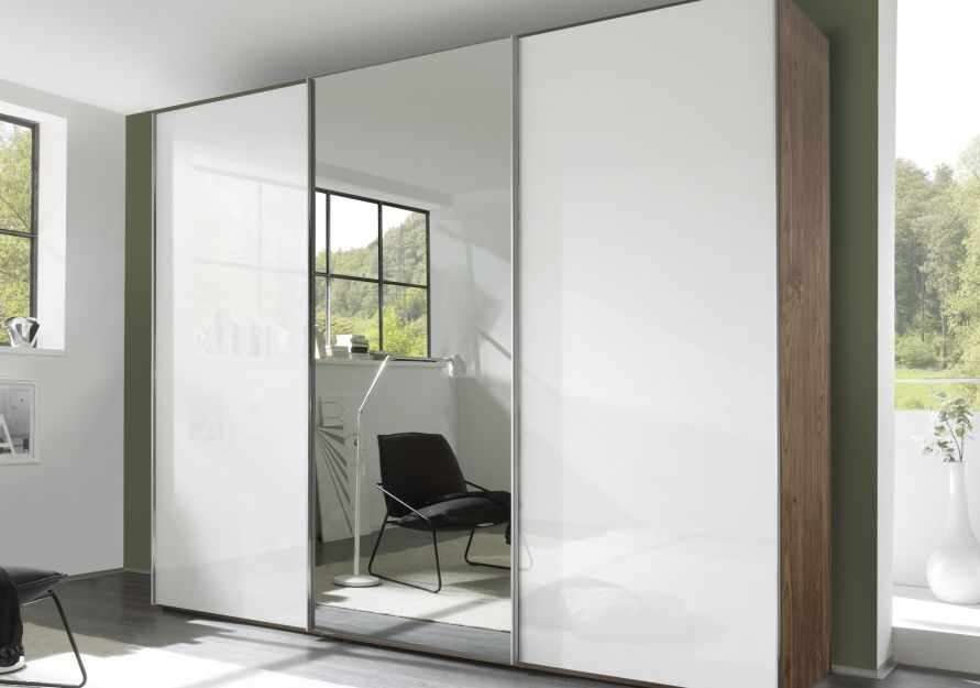 Nolte Evena Imitation Macadamia Nutwood with White Glass and Crystal Mirror 3 Door Sliding Wardrobe - W 240cm