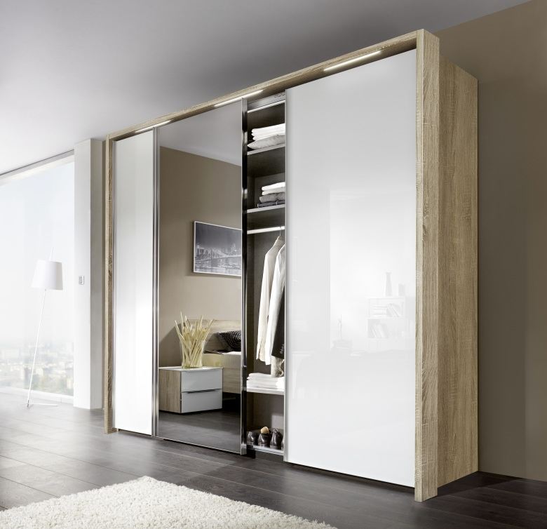 Nolte Evena Imitation Sonoma Oak with White Glass and Crystal Mirror 3 Door Sliding Wardrobe - W 240cm