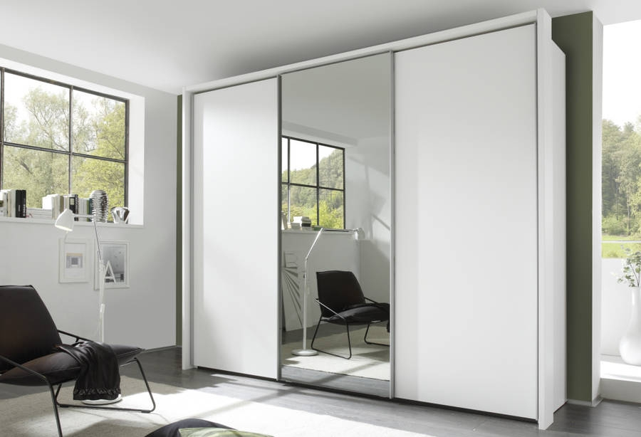 Nolte Evena Polar White with Crystal Mirror 3 Door Sliding Wardrobe - W 240cm