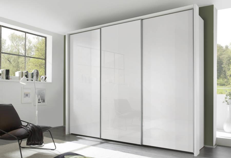 Nolte Evena Polar White with White Glass 3 Door Sliding Wardrobe - W 300cm