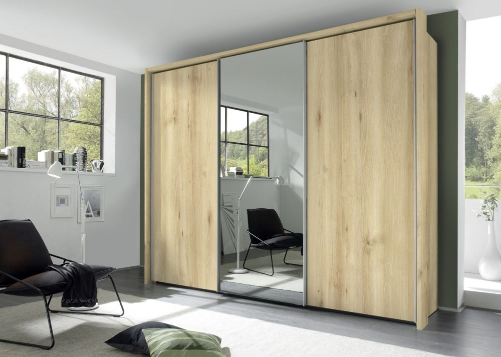 Nolte Evena Wood and Grey Mirror Doors Sliding Wardrobe