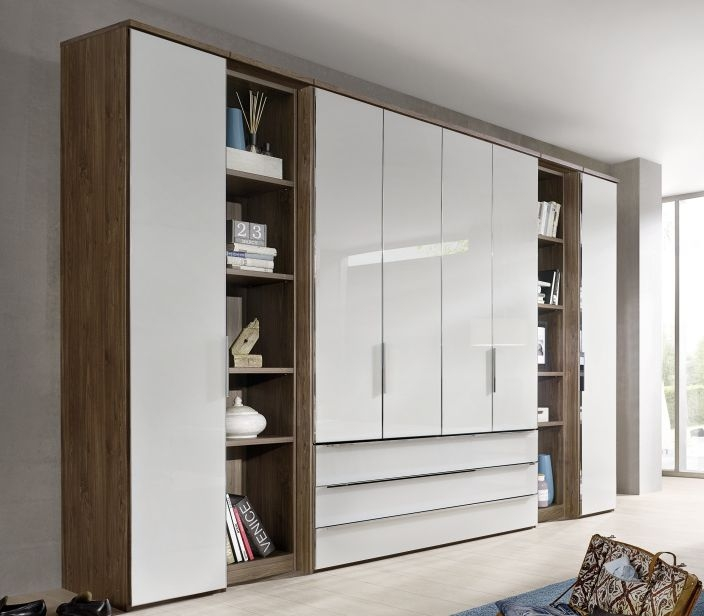 Nolte Horizont 10500 Imitation Macadamia Nutwood with White Glass 6 Door 3 Drawer Hinged Wardrobe with Shelf Unit - W 320cm