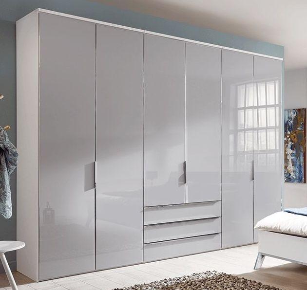 Nolte Horizont 10500 Polar White with Glass Silk Grey 6 Door 3 Drawer Hinged Wardrobe - W 240cm