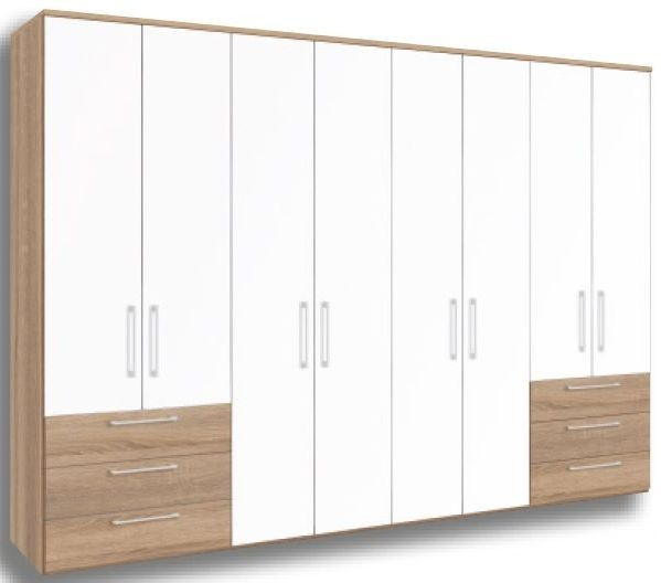 Nolte Horizont 4500 Imitation Icona Beech with Polar White Plain 8 Door 6 Drawer Hinged Wardrobe - W 400cm x H 200cm