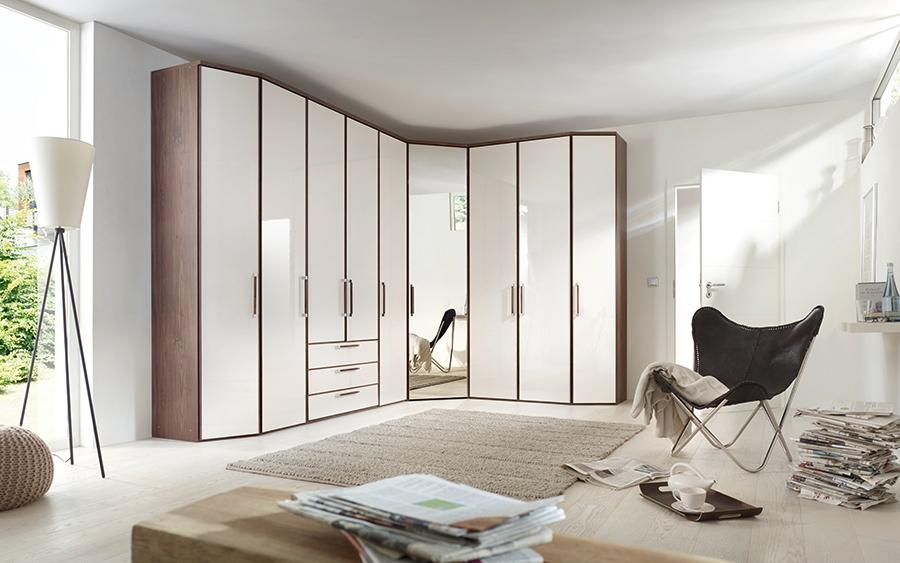 Nolte Horizont 6000 Plain and Grey Mirror Door Hinged Wardrobe
