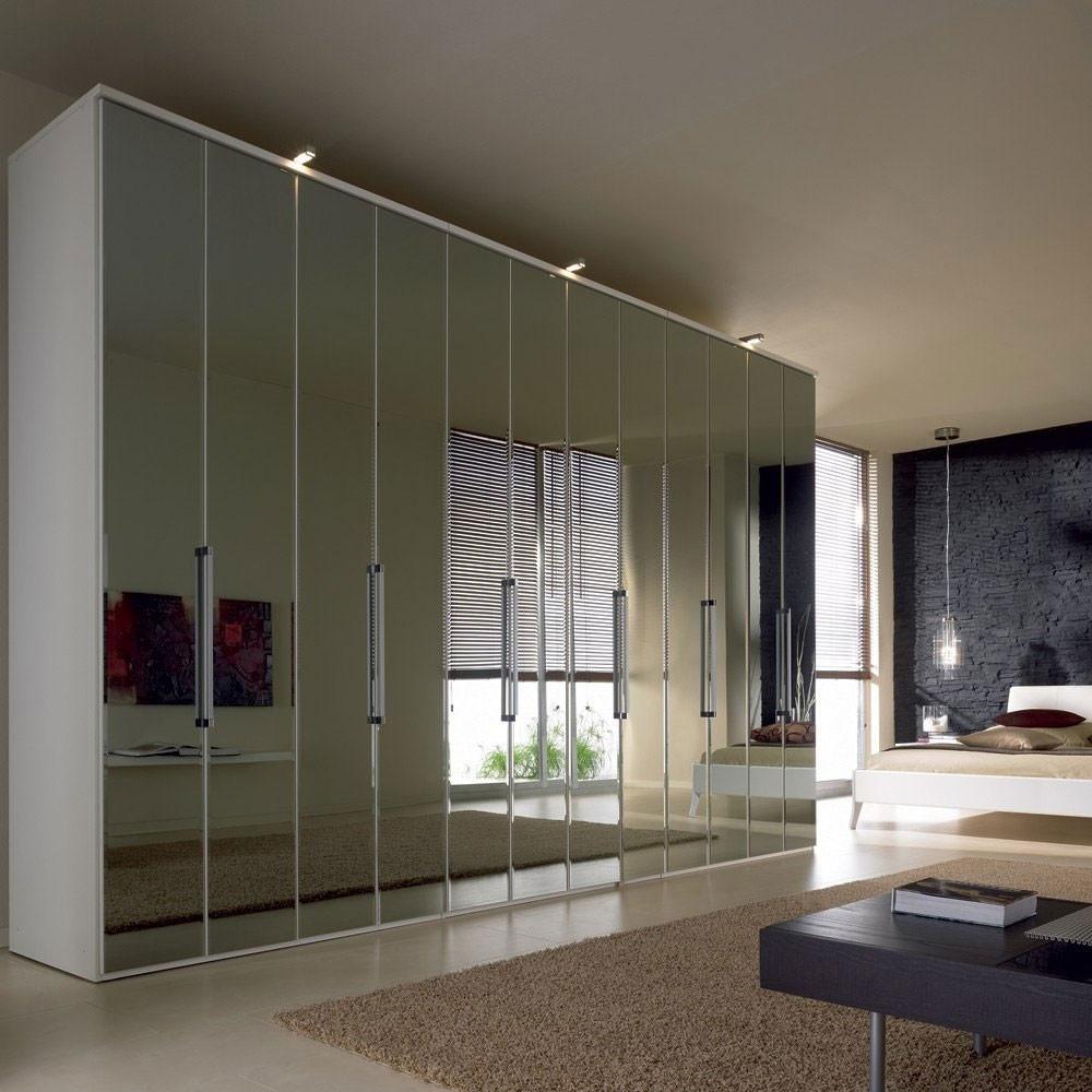 Nolte Horizont 7000 Folding Plain Crystal Mirror Door Hinged Wardrobe