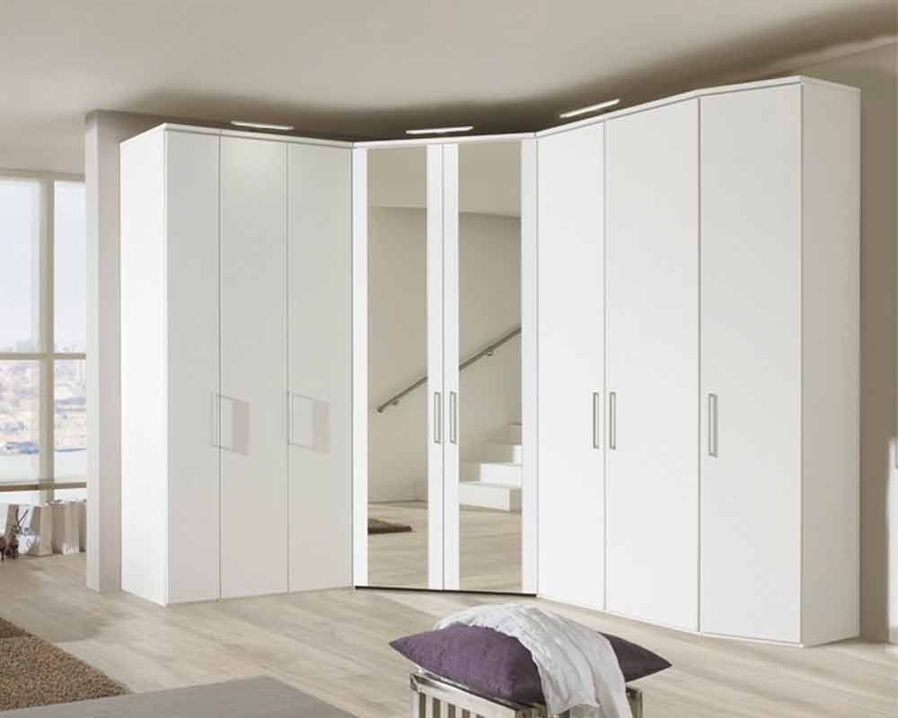 Nolte Horizont 7000 Folding Plain and Crystal Mirror Door Hinged Wardrobe