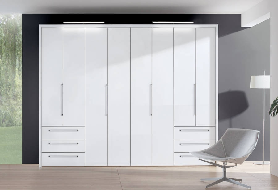 Nolte Horizont 7000 Polar White 8 Door 6 Drawer Folding Wardrobe - W 240cm x H 225cm