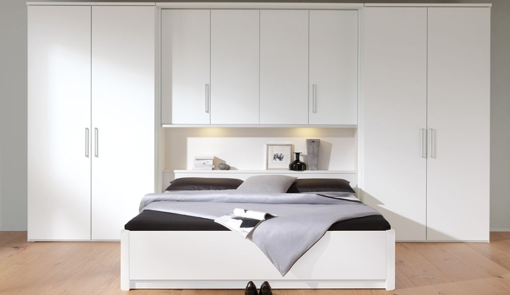 Nolte Horizont 7500 Polar White Overbed Unit with 8 Door Hinged Wardrobe - W 355cm